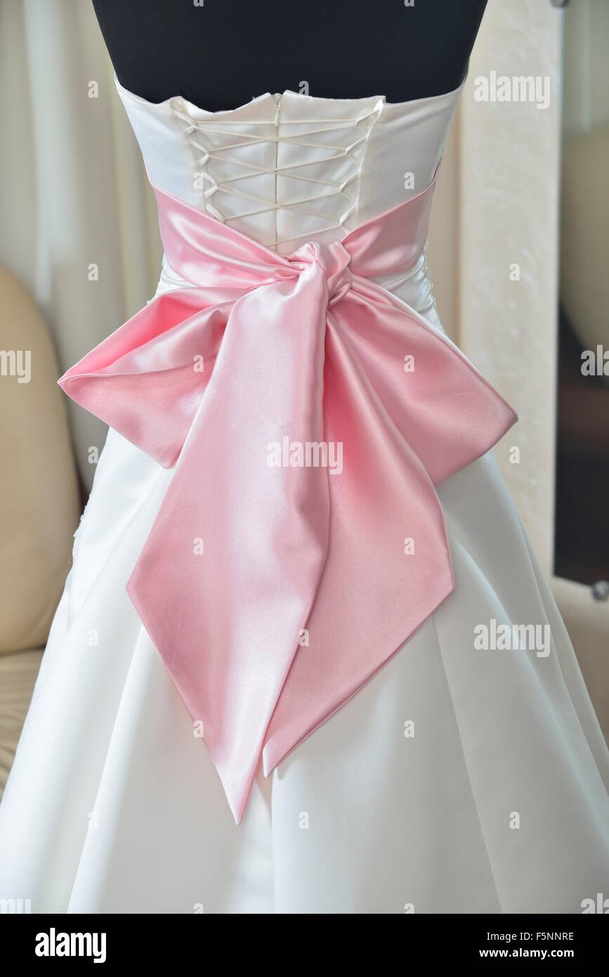 ivory wedding dress with pink bow and corset (choice of dress for ...