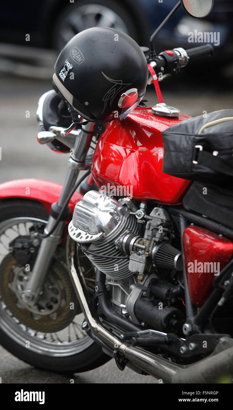 Seventies Moto Guzzi motorcycle. - Stock Image