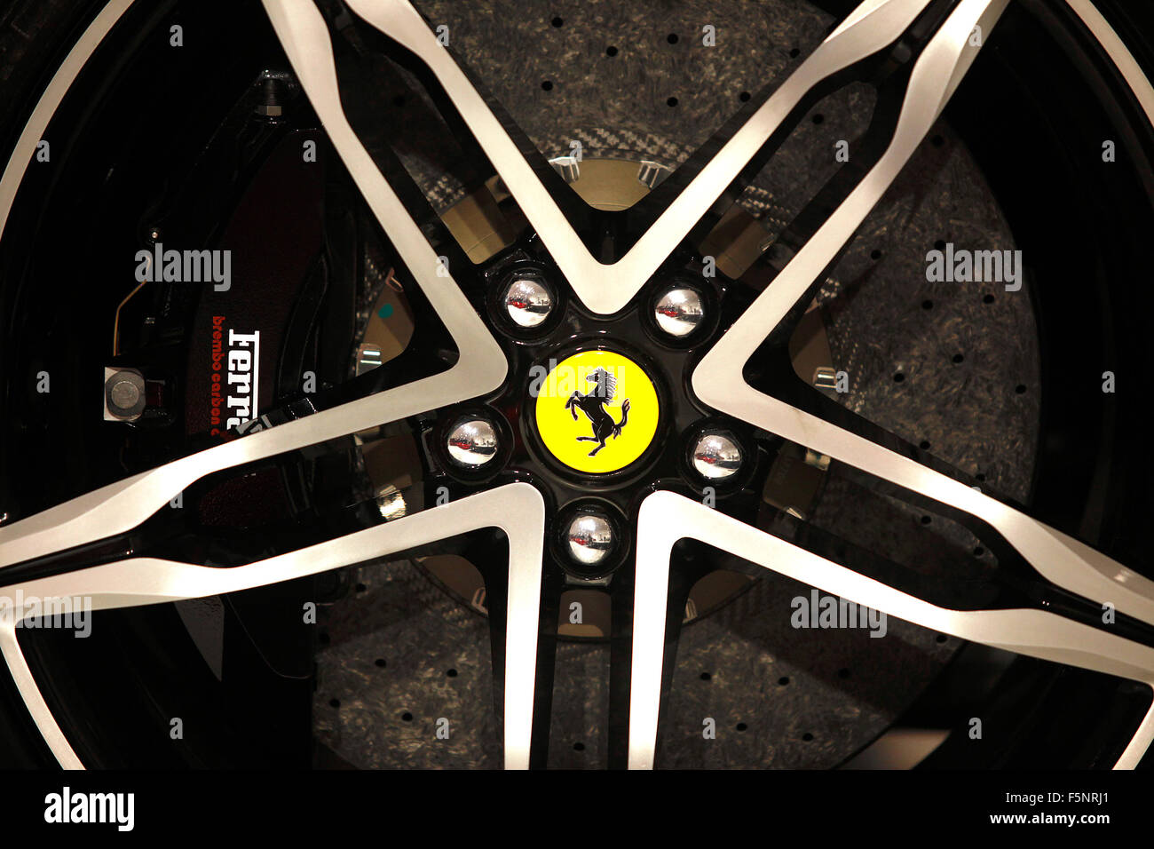 Ferrari alloy wheel detail at the Museo Ferrari in Maranello, Italy. - Stock Image