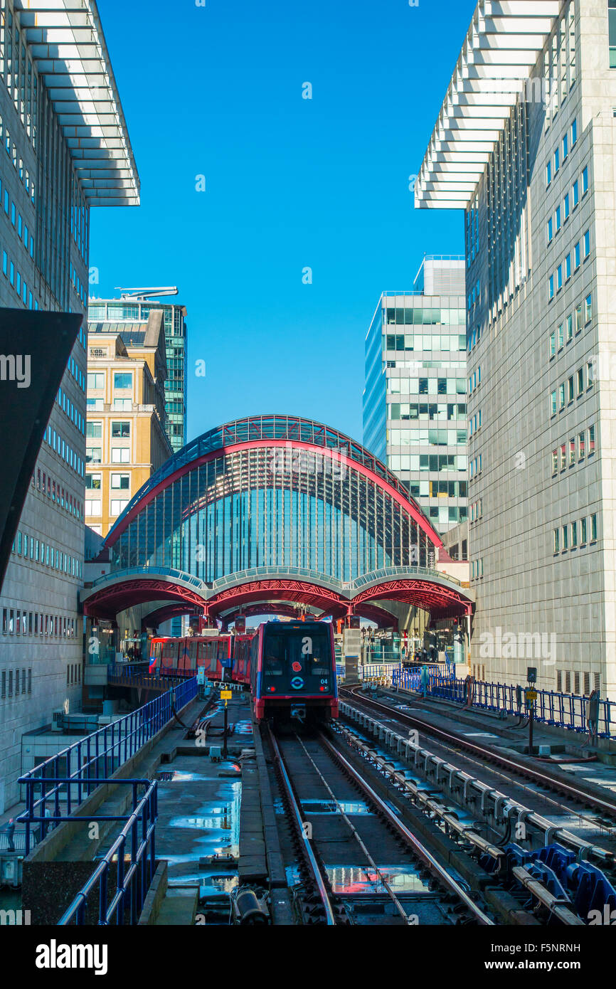 DLR Docklands Light Railway Canary Wharf Station London - Stock Image
