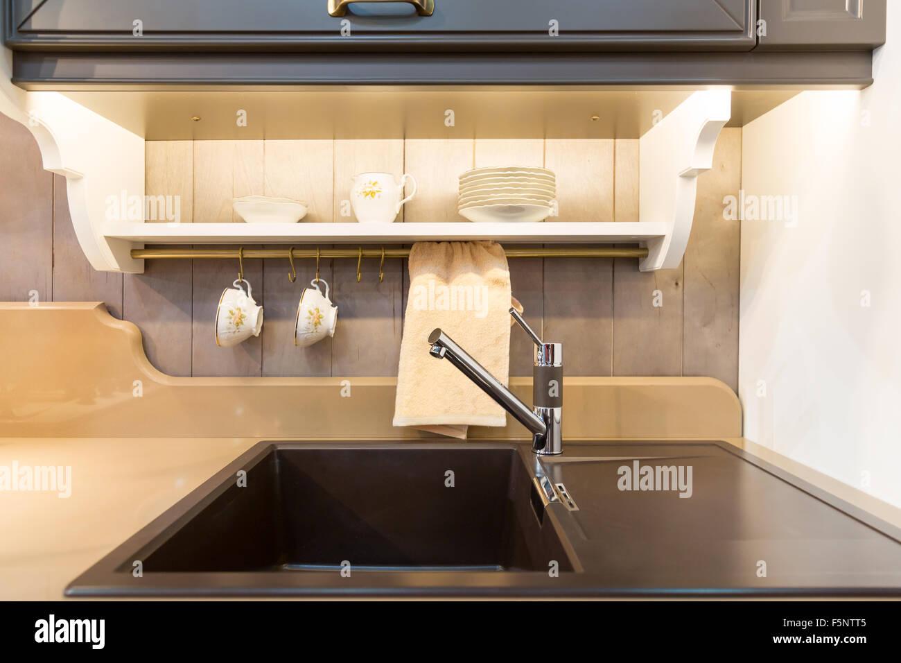 Modern Kitchen Sink In Black Ceramic Closeup Stock Photo 89605605