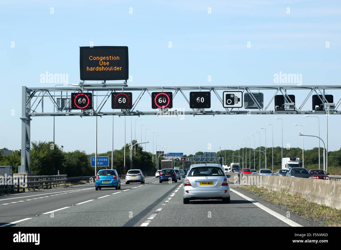 M5 Traffic Cameras Live >> Traffic On The M5 Motorway A Overhead Gantry Shows Congestion