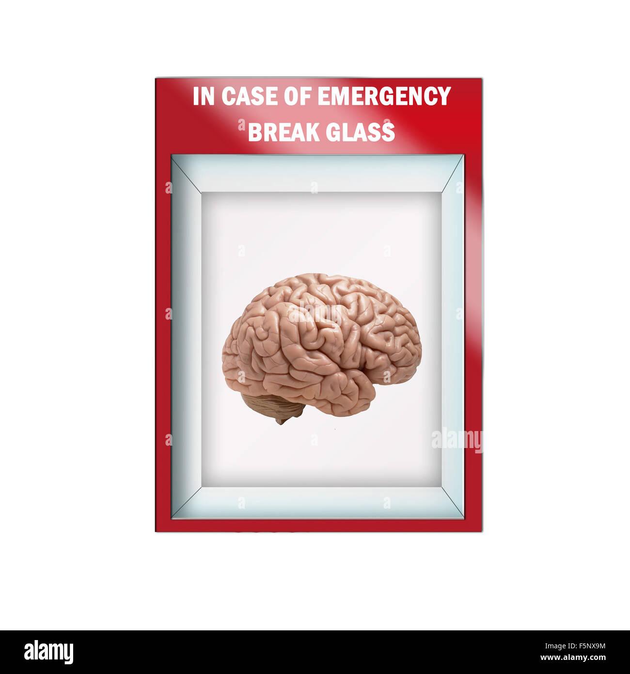 Mock up illustration -Emergency break glass case containing  human brain - Stock Image