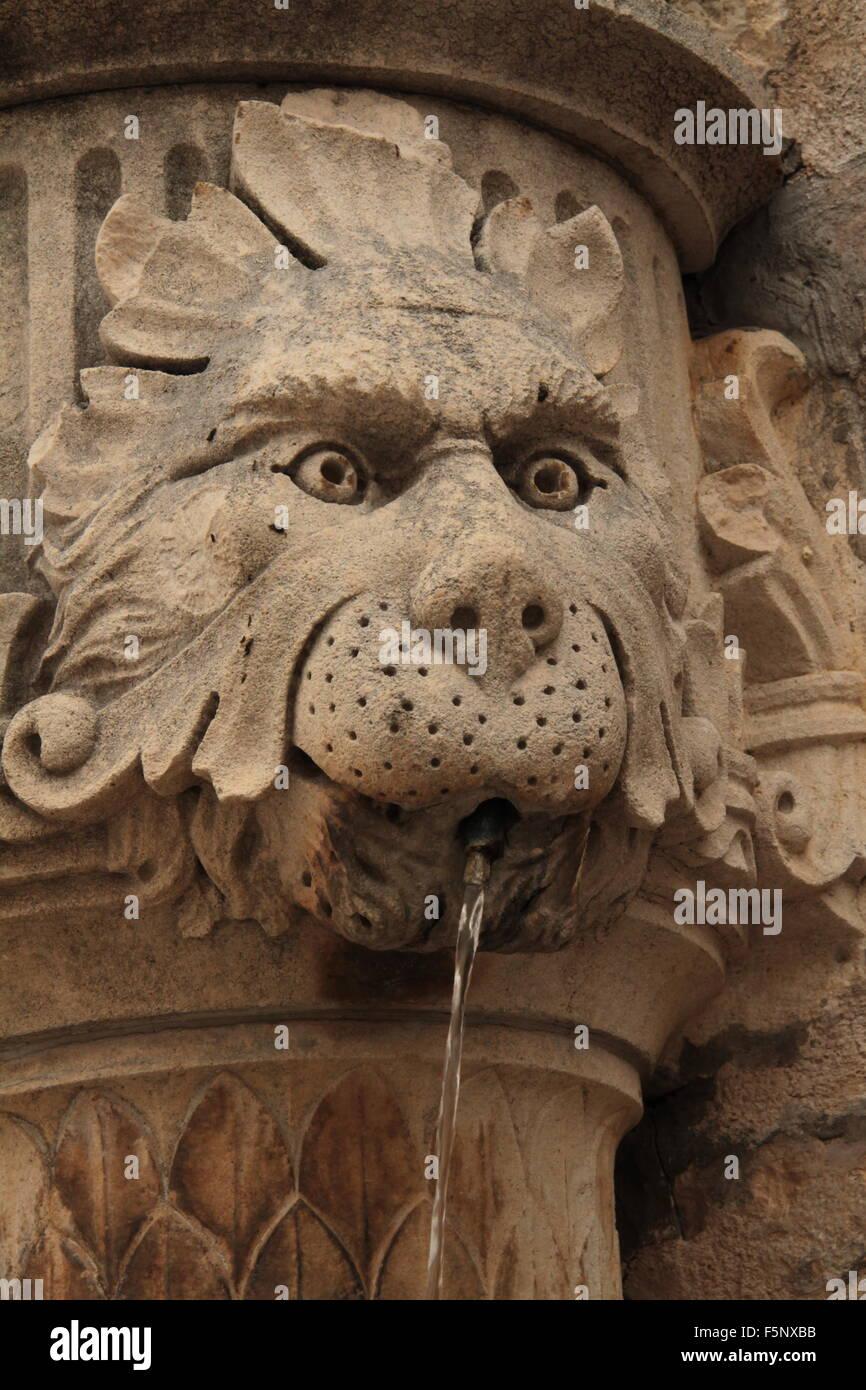 lionhead fountain Dubrovnik - Stock Image