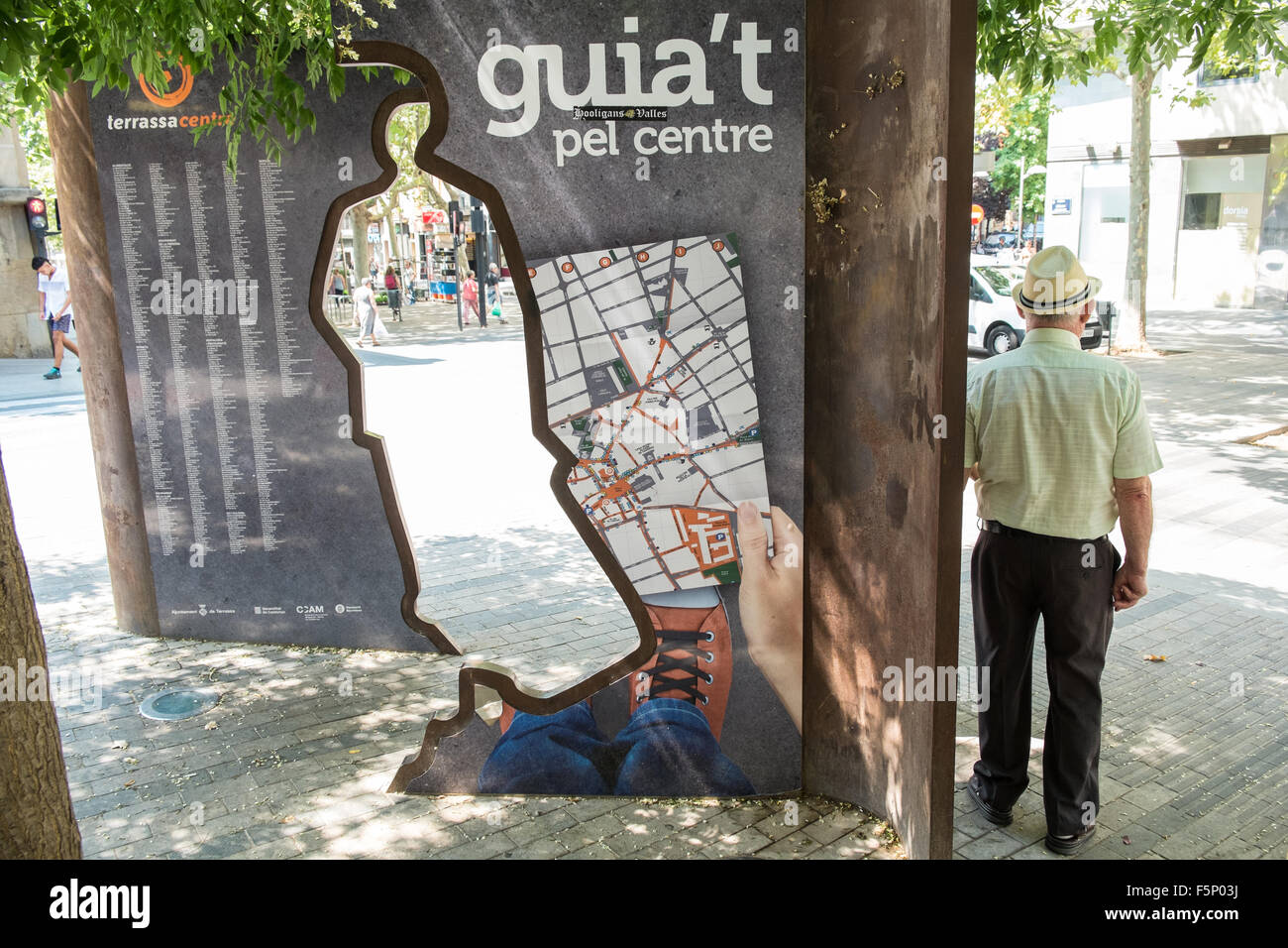 Map Of Spain Near Barcelona.Art Installation Noticeboard And Map Of Terrassa Suburb Town Near