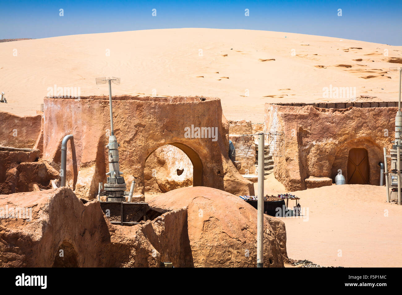 Buildings in Ong Jemel, Tunisia. Ong Jemel is a place near Tozeur, where the movies Star wars - Stock Image