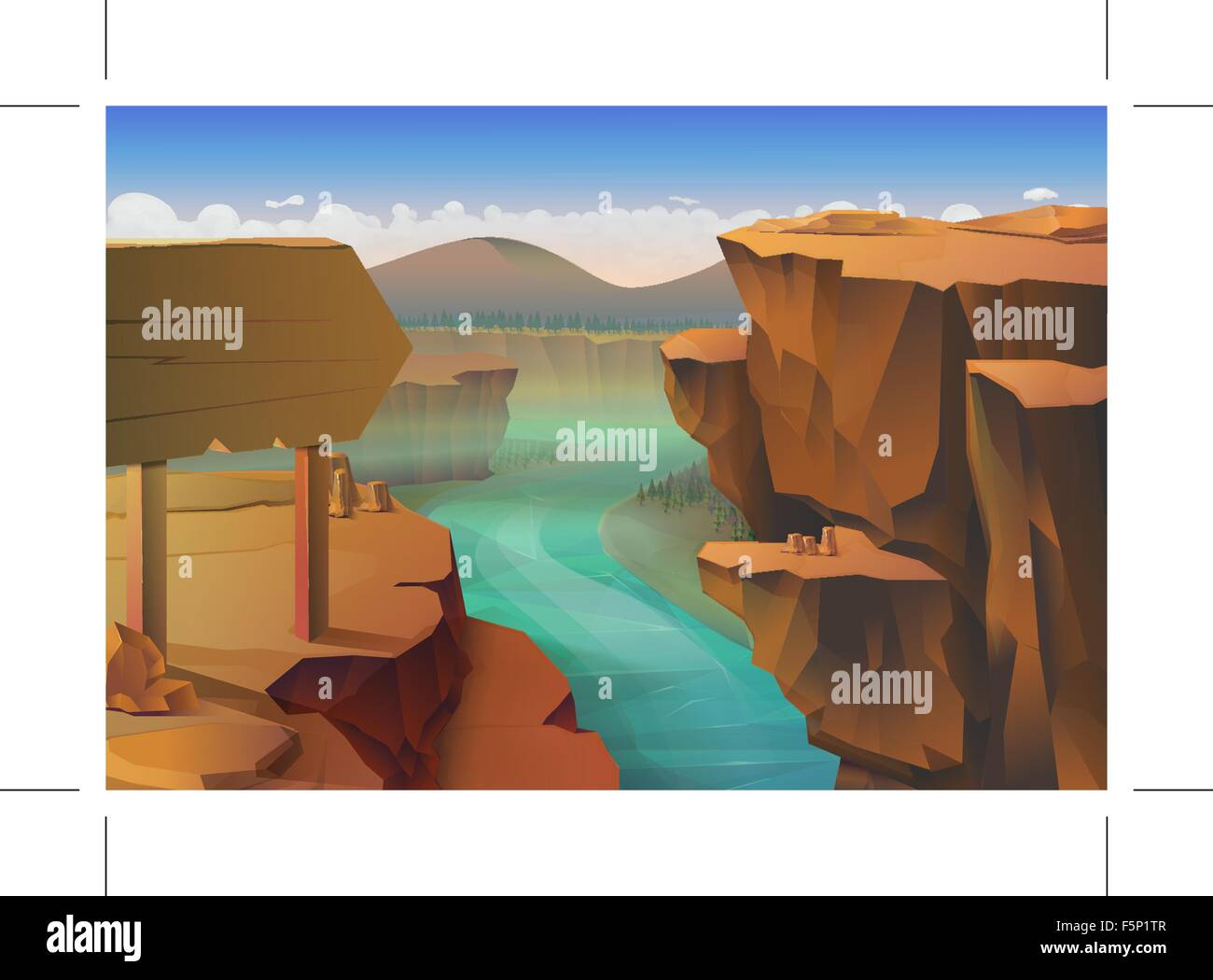 Canyon, nature vector background - Stock Image