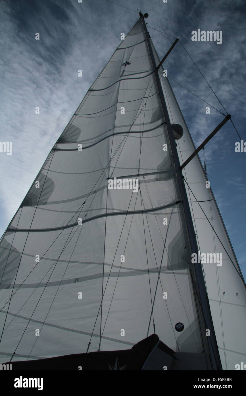mainsail under wind - Stock Image