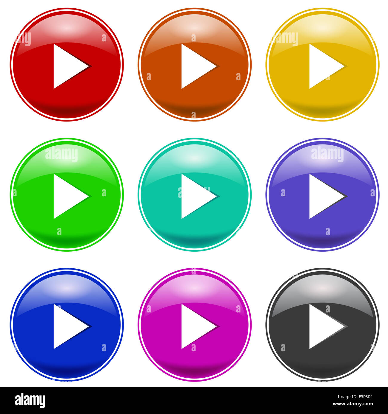 Set of Colorful Play Icons Stock Photo