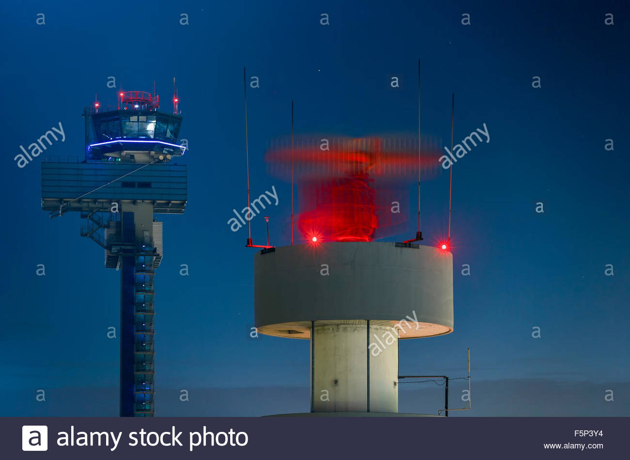 ATC air traffic control tower ASR airport surveillance radar antenna primary radar secondary system Duesseldorf - Stock Image