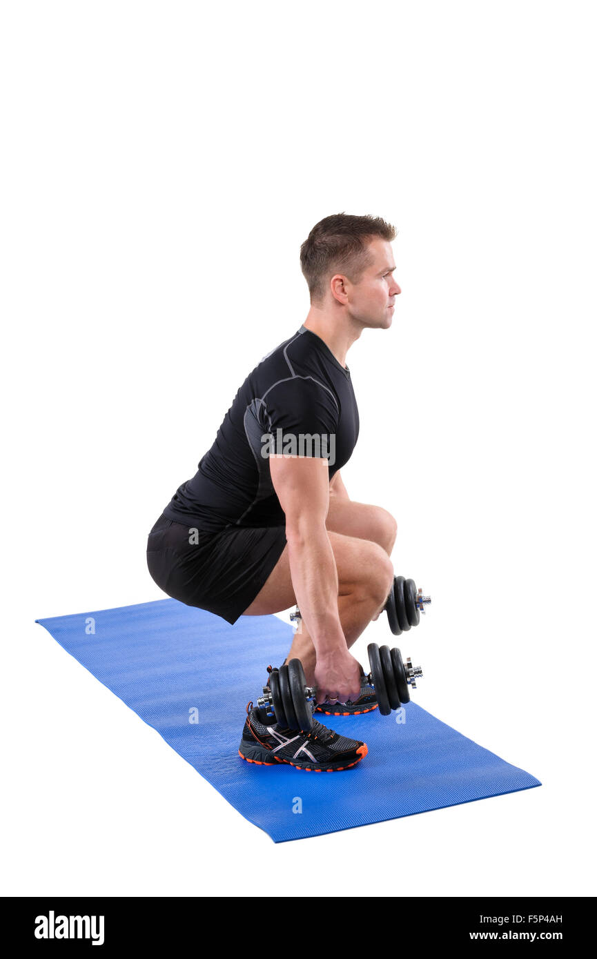 Standing Dumbbell Calf Raise Or Squats Workout Stock Photo 89611497