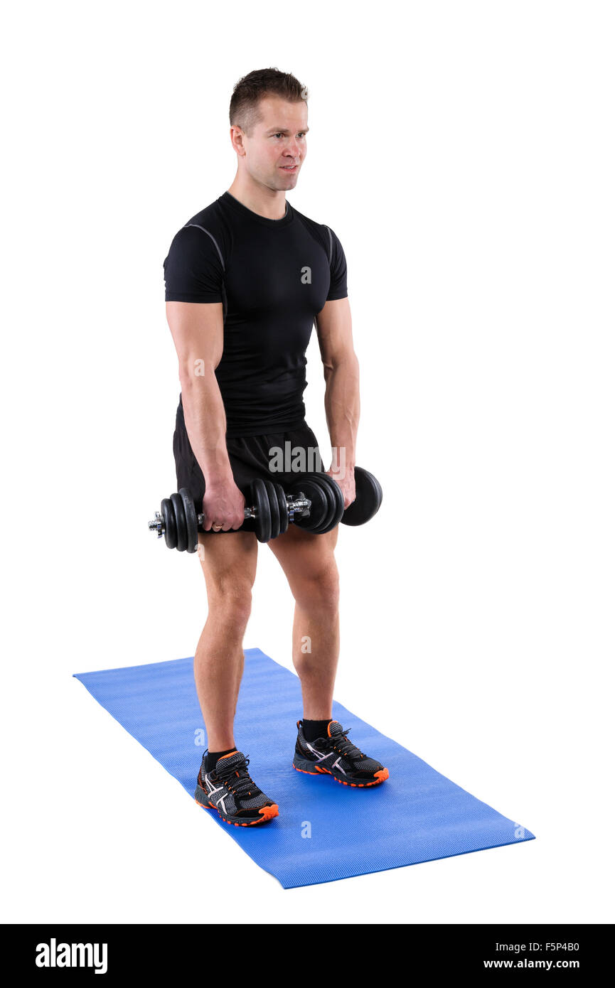 Standing Dumbbell Calf Raise Or Squats Workout Stock Photo 89611508