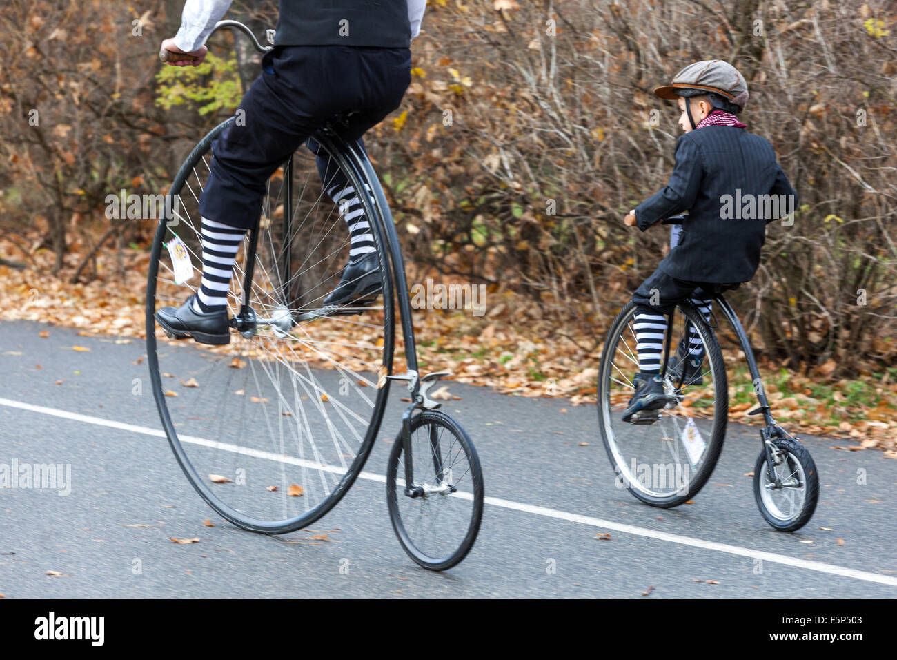 People on the cycling trail in Prague Letna Park Czech Republic - Stock Image
