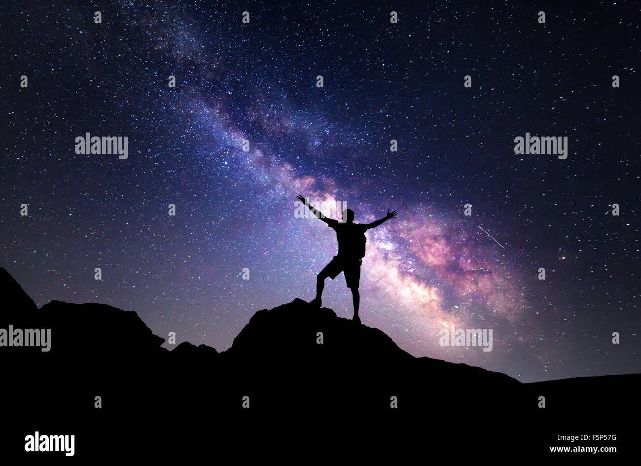 Milky Way. Night sky with stars and silhouette of a man with raised-up arms. - Stock Image