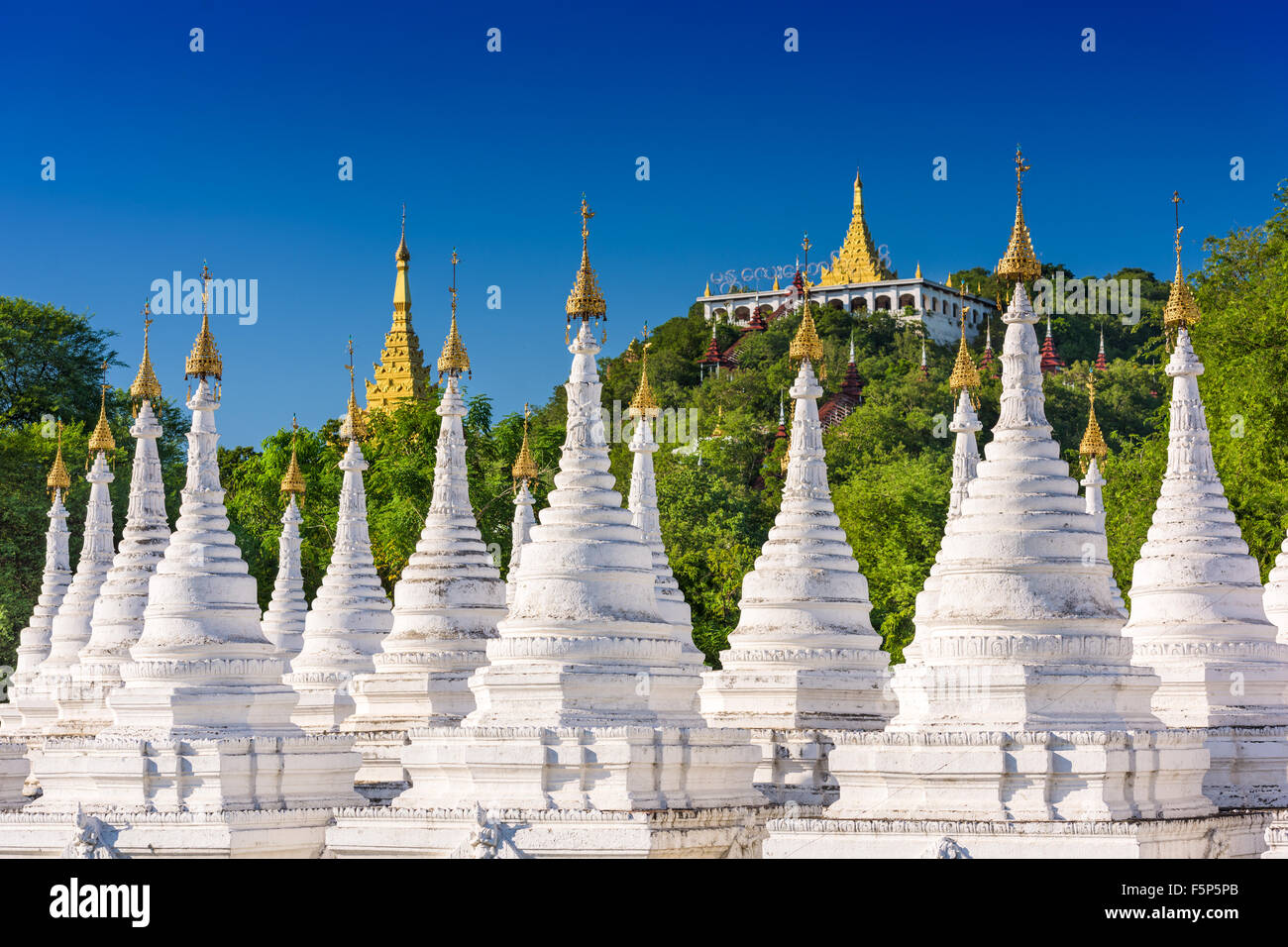 Sandamuni Pagoda Temple stupas in Mandalay, Myanmar. - Stock Image