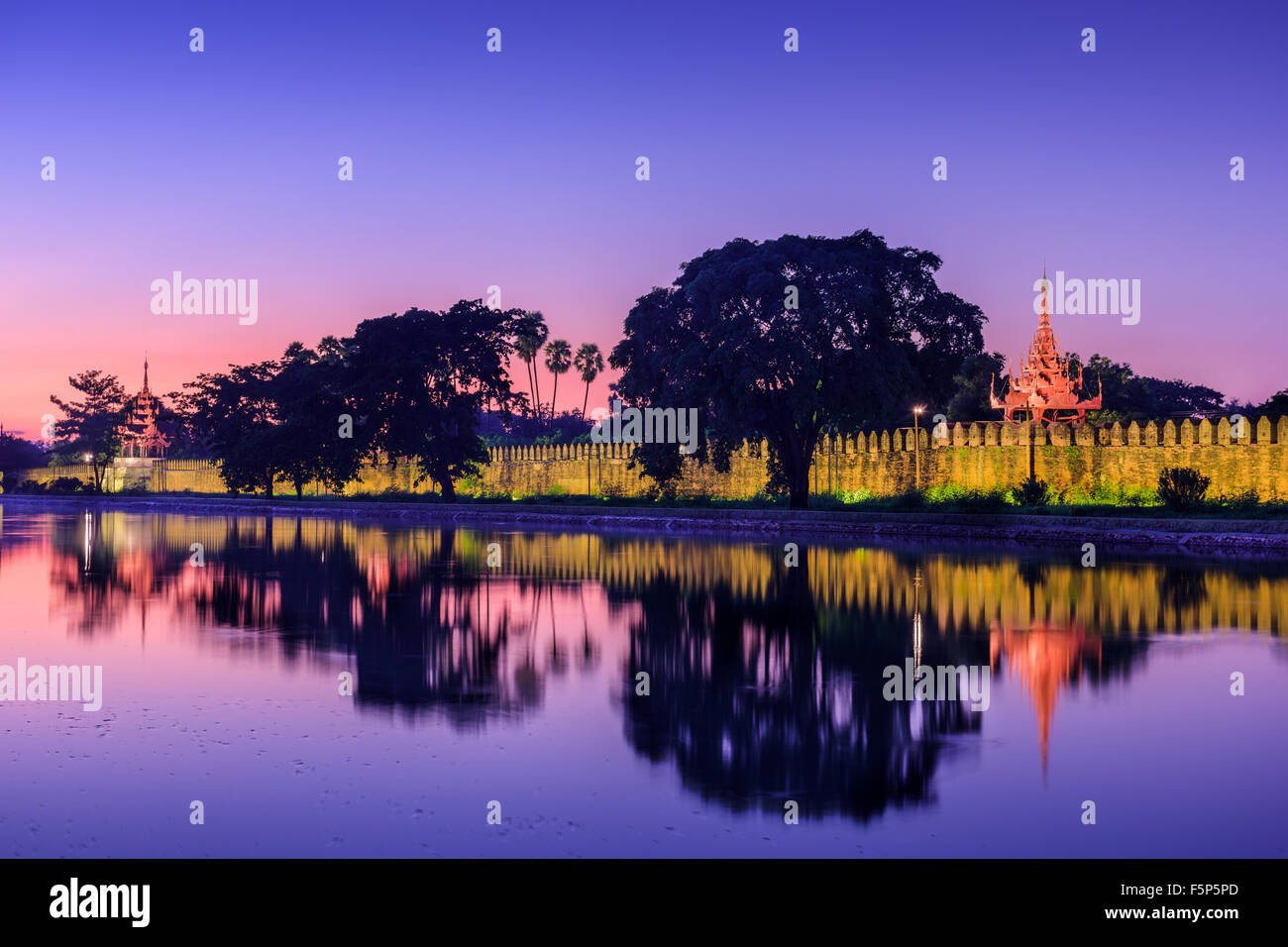Mandalay, Myanmar at the royal palace moat. - Stock Image