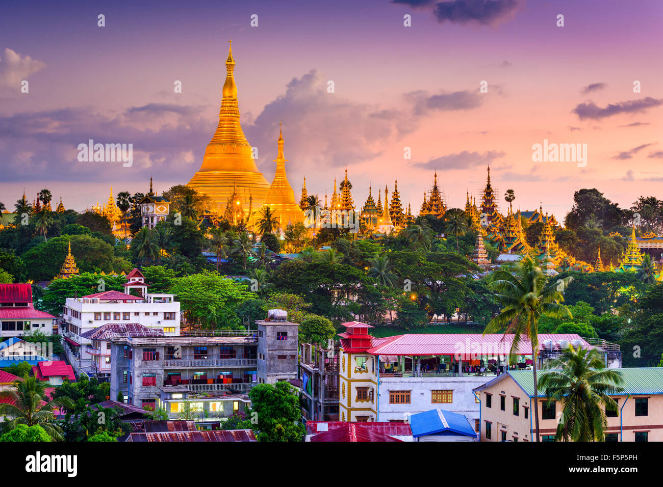 Yangon, Myanmar skyline at Shwedagon Pagoda. - Stock Image