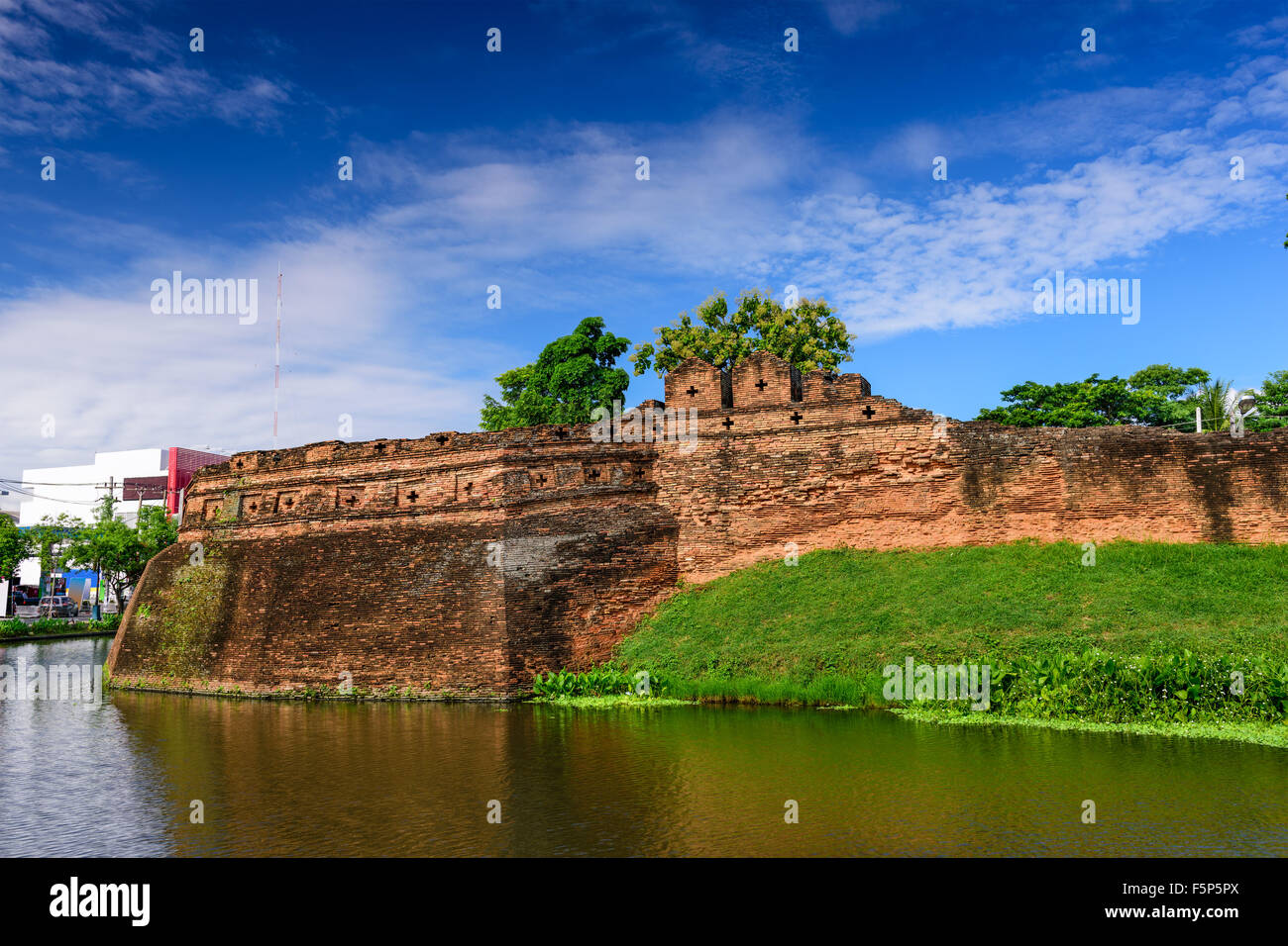 Chiang Mai, Thailand old city ancient wall and moat. - Stock Image