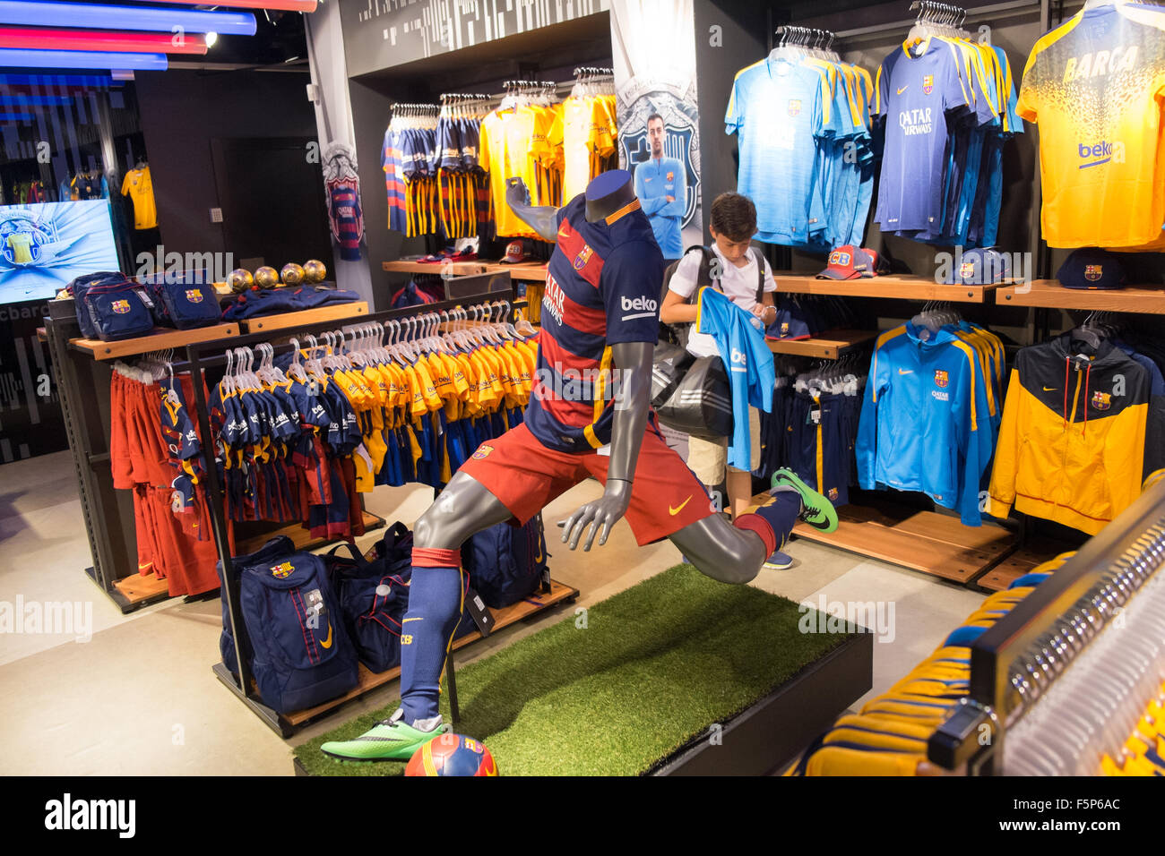 Official Barcelona Football Club shop,outlet at concourse at Sants high-speed,TGV, train station,Barcelona,Catalonia,Spain, - Stock Image