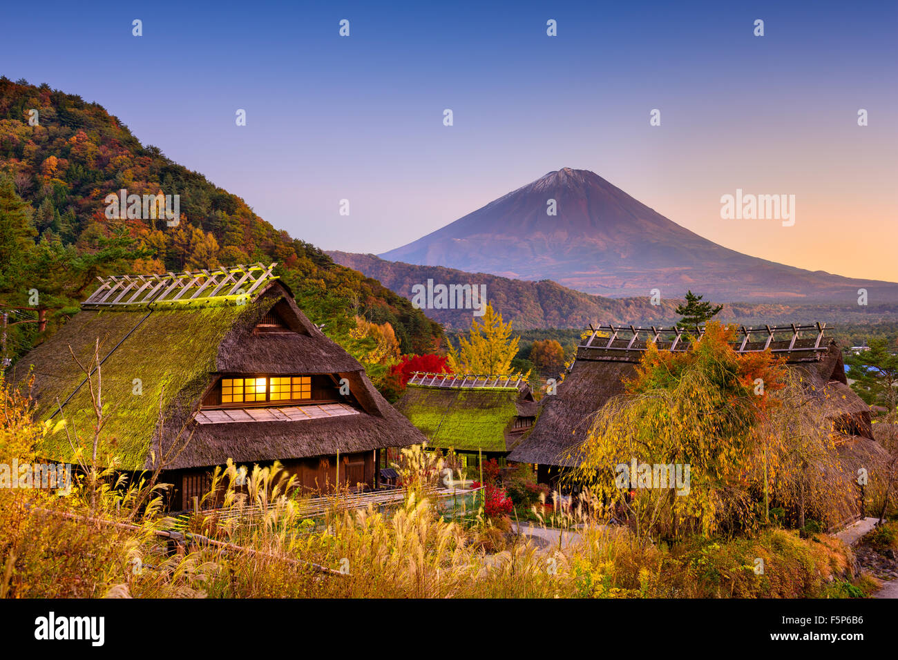 Mount Fuji, Japan viewed from a historic village. - Stock Image