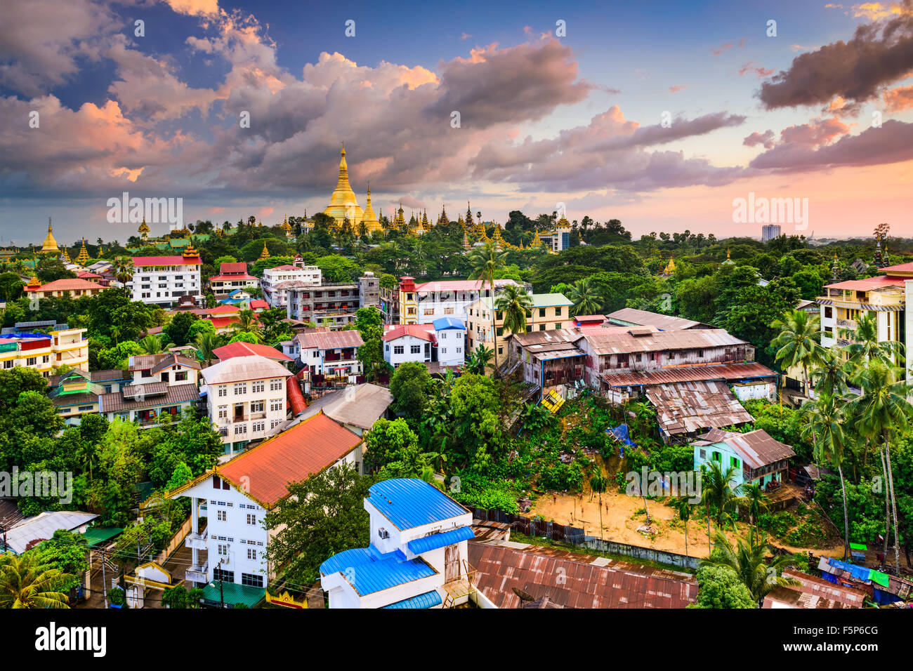 Yangon, Myanmar city skyline. - Stock Image