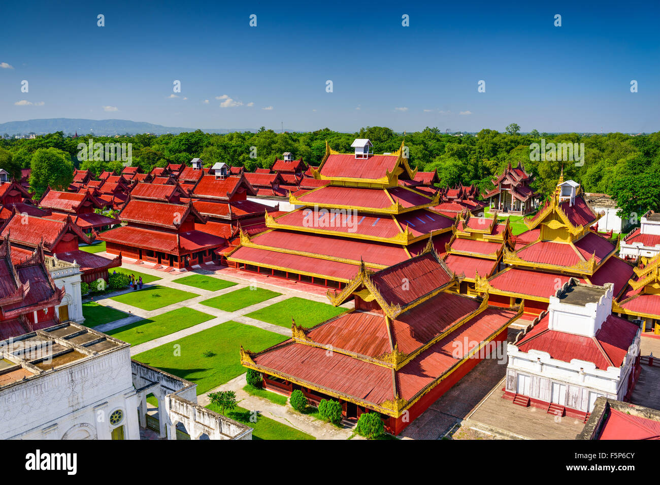 Mandalay, Myanmar buildings on the Royal Palace grounds. - Stock Image
