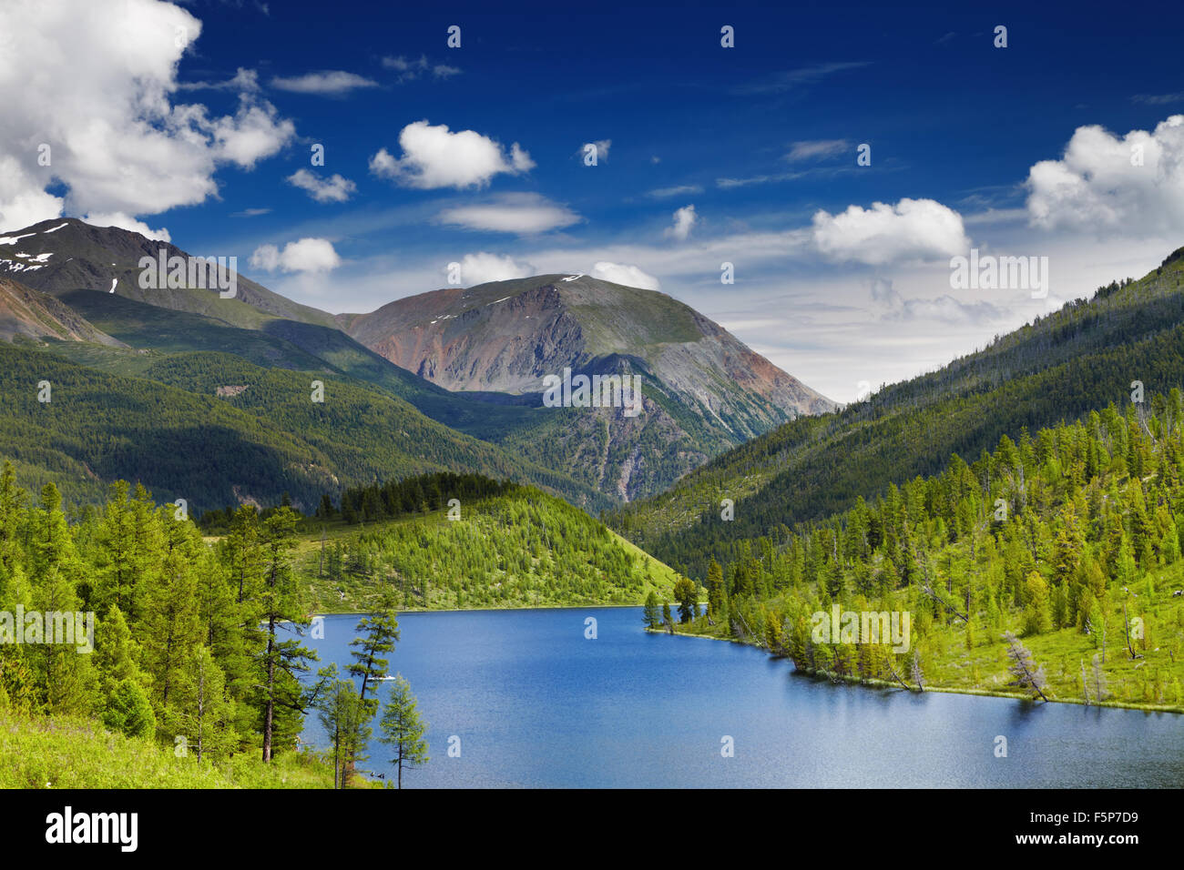 Beautiful lake in Altai mountains - Stock Image