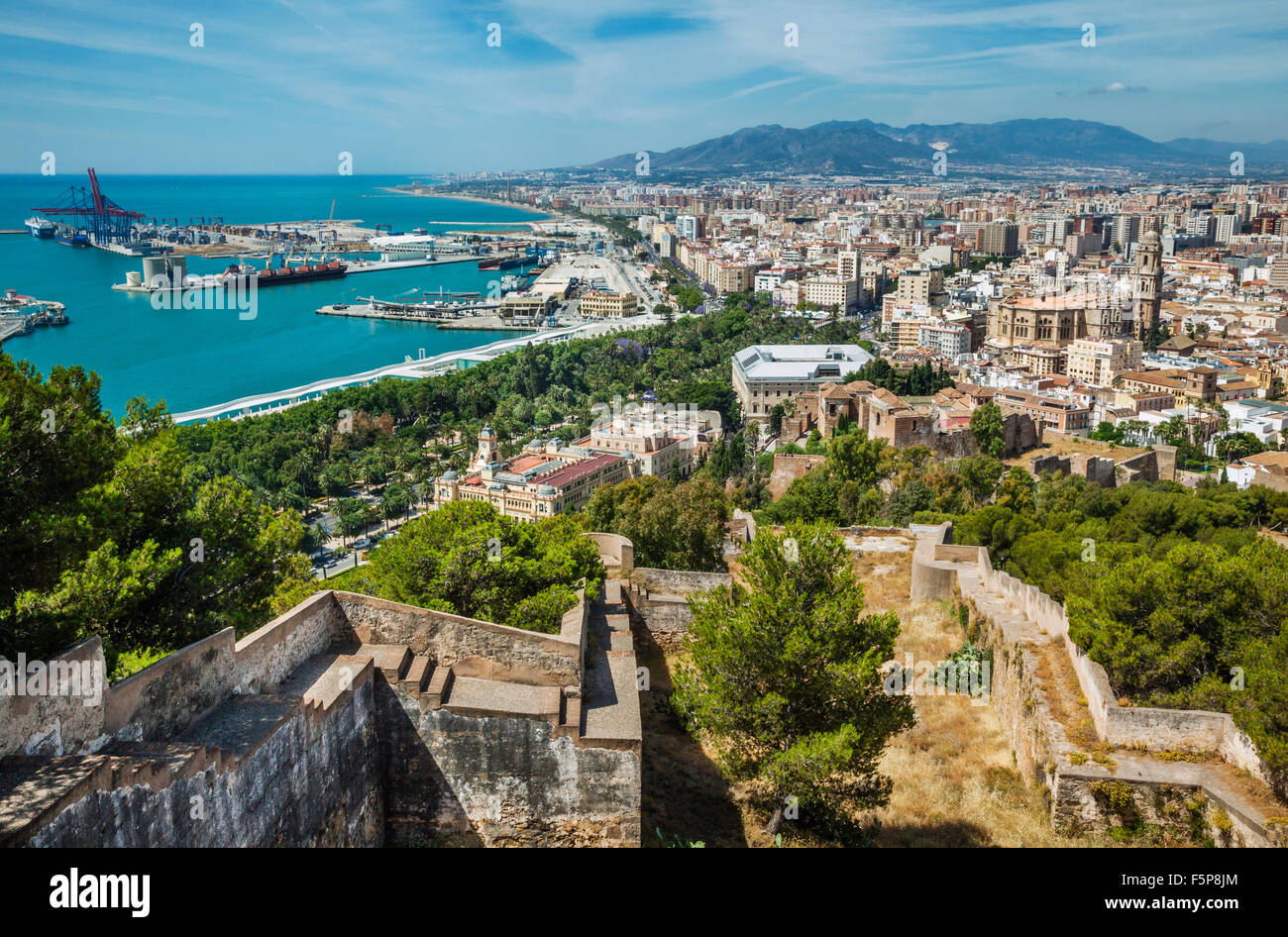 view of Malaga from Gibralfaro with Alcazaba, the historic centre and Malaga cathedral and Port of Malaga - Stock Image