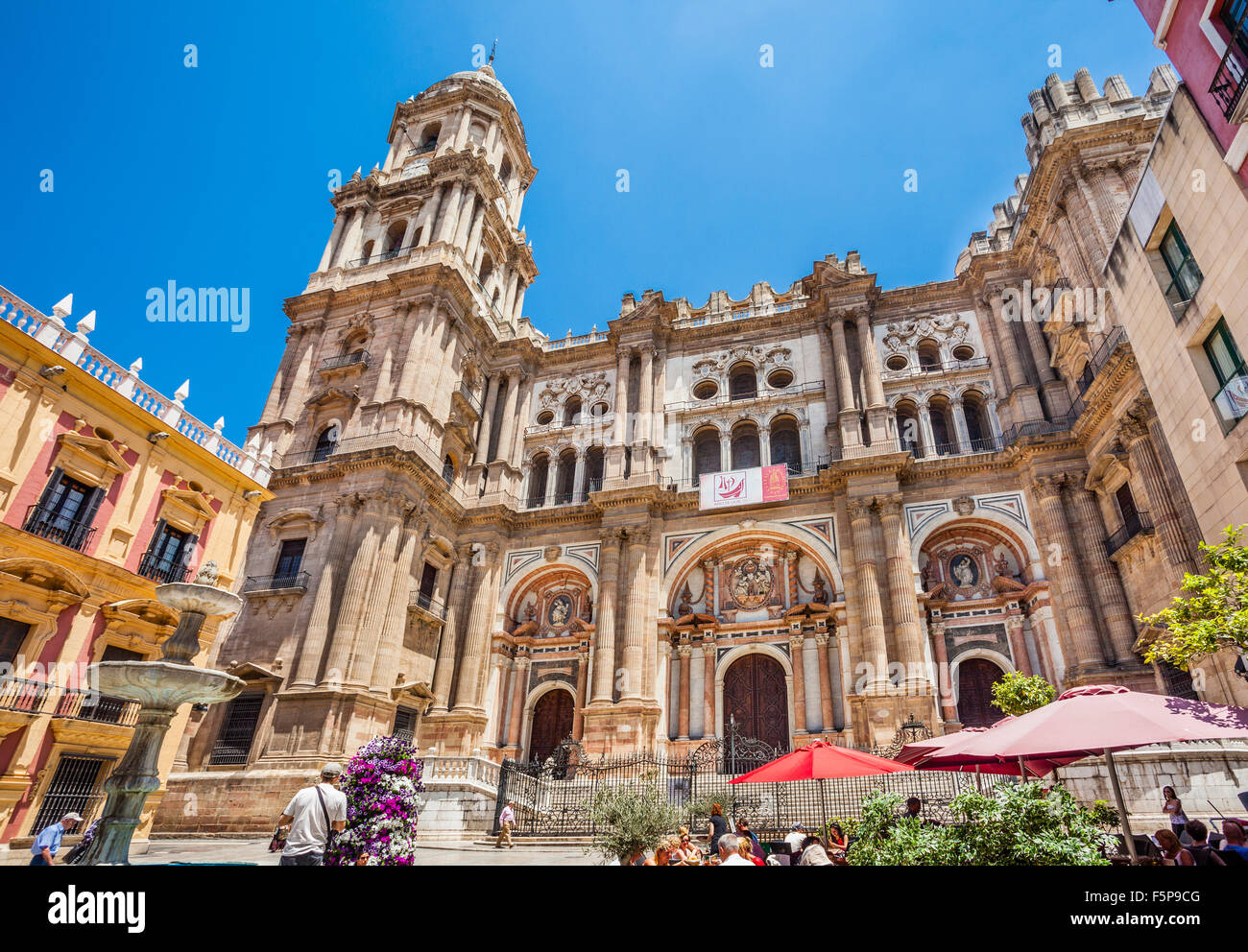 Main portal of Malaga Cathedral with the 84 metre north tower and the unfinished south tower - Stock Image
