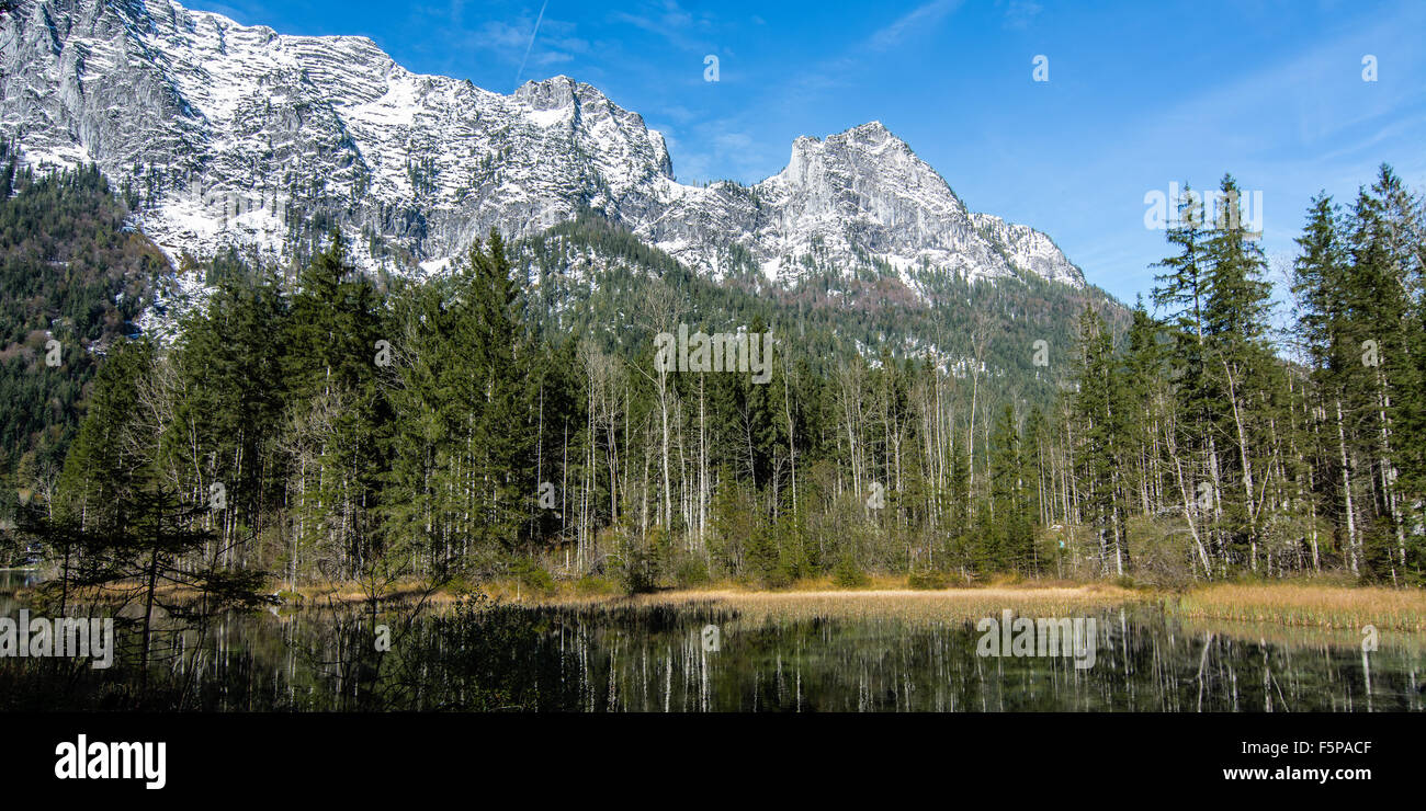 A view from the Bavarian forest to the Alps mountains in Berchtesgadens Nationalpark, one of Germanys oldest Nationalparks. Stock Photo