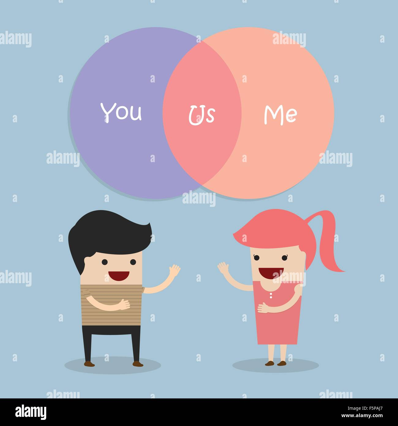 Man and woman talking about their relationship, VECTOR, EPS10 - Stock Vector