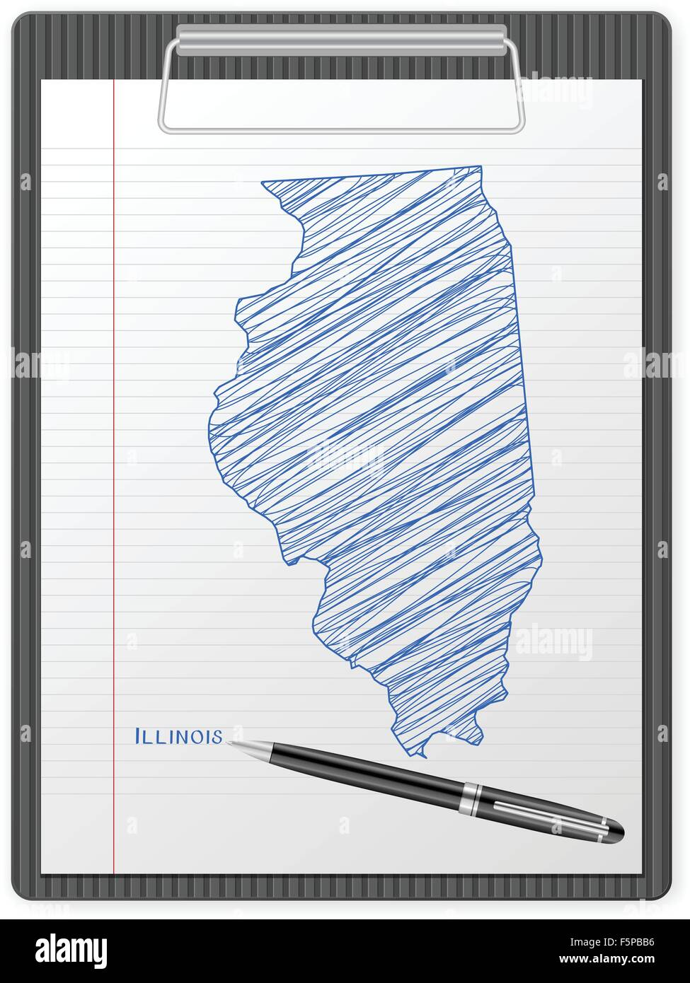 Clipboard with drawing Illinois map. Vector illustration. - Stock Vector