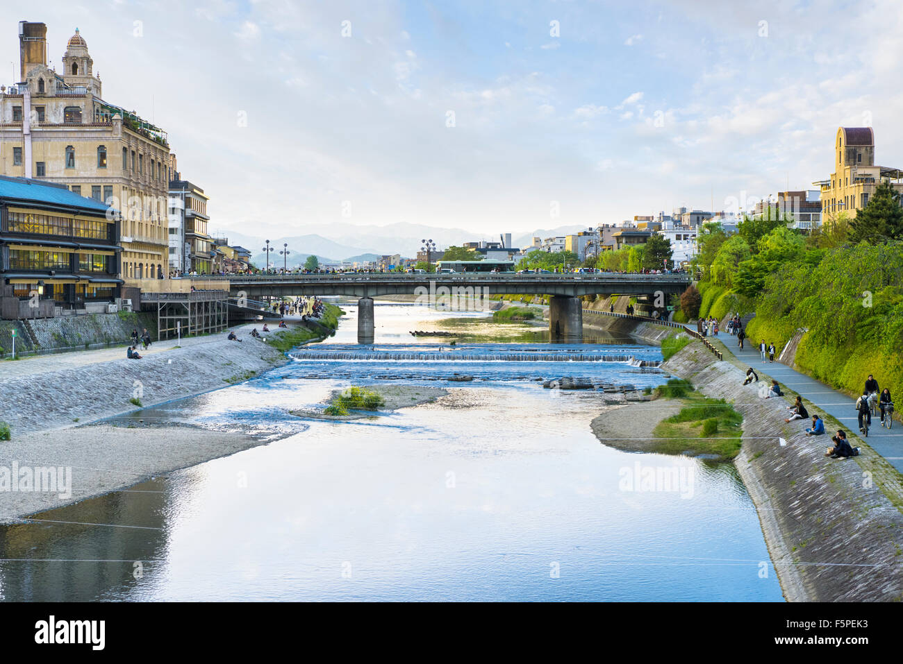 The Kamogawa River in central Kyoto Pontochou, Minami-za and Gion areas in the late afternoon - Stock Image
