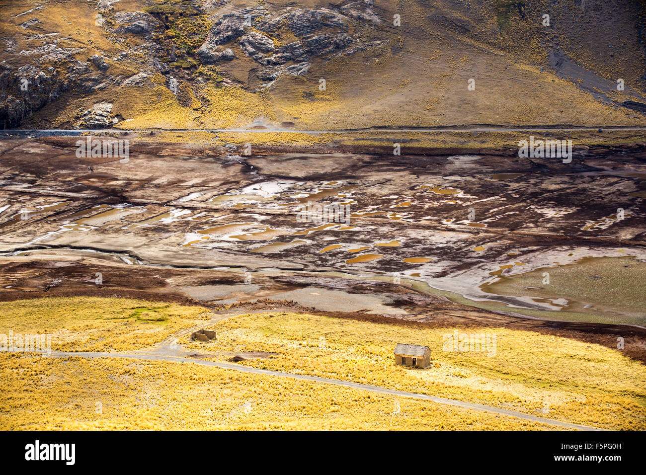 A reservoir fed by glacial meltwater from Andean peaks in the Bolivian Andes. As climate change casuses the glaciers - Stock Image