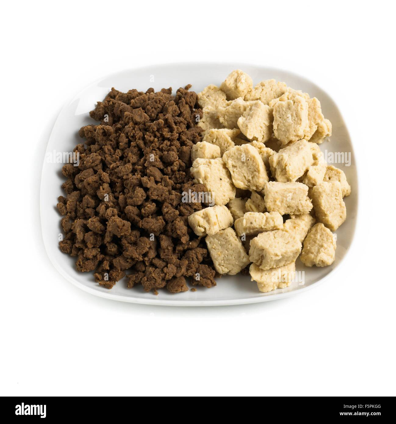 Meat substitutes against a white background. - Stock Image