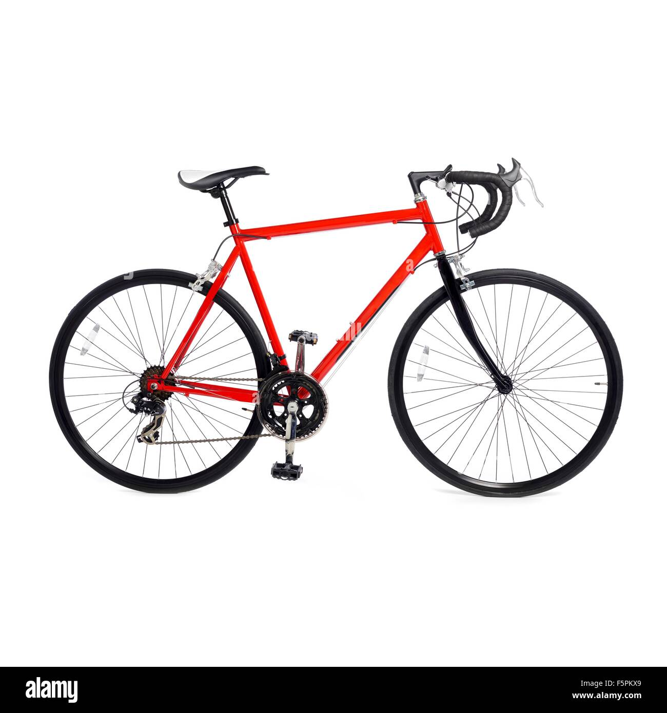 Road bike against a white background. - Stock Image