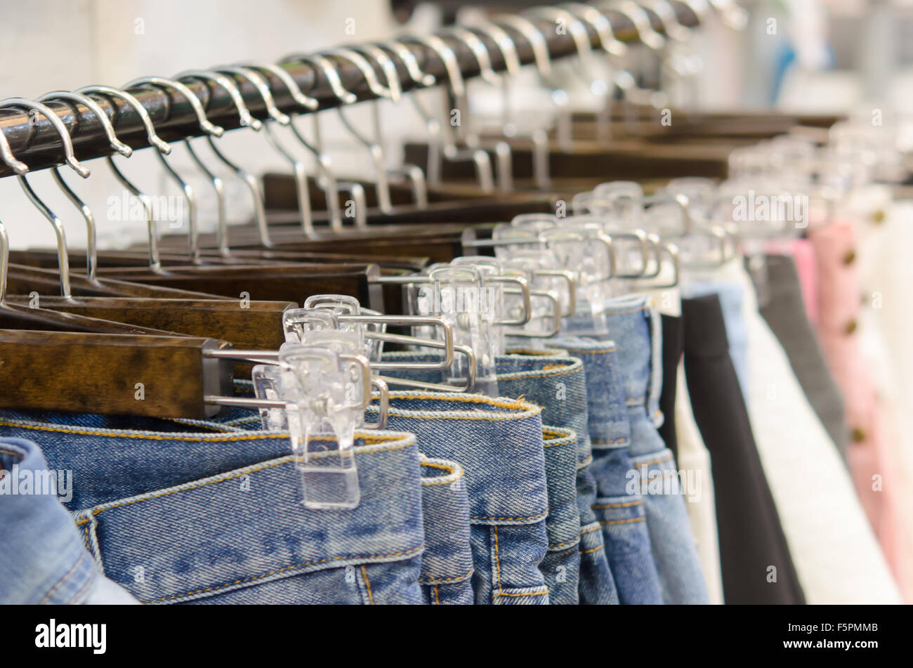 Hanger pants and skirts for women - Stock Image
