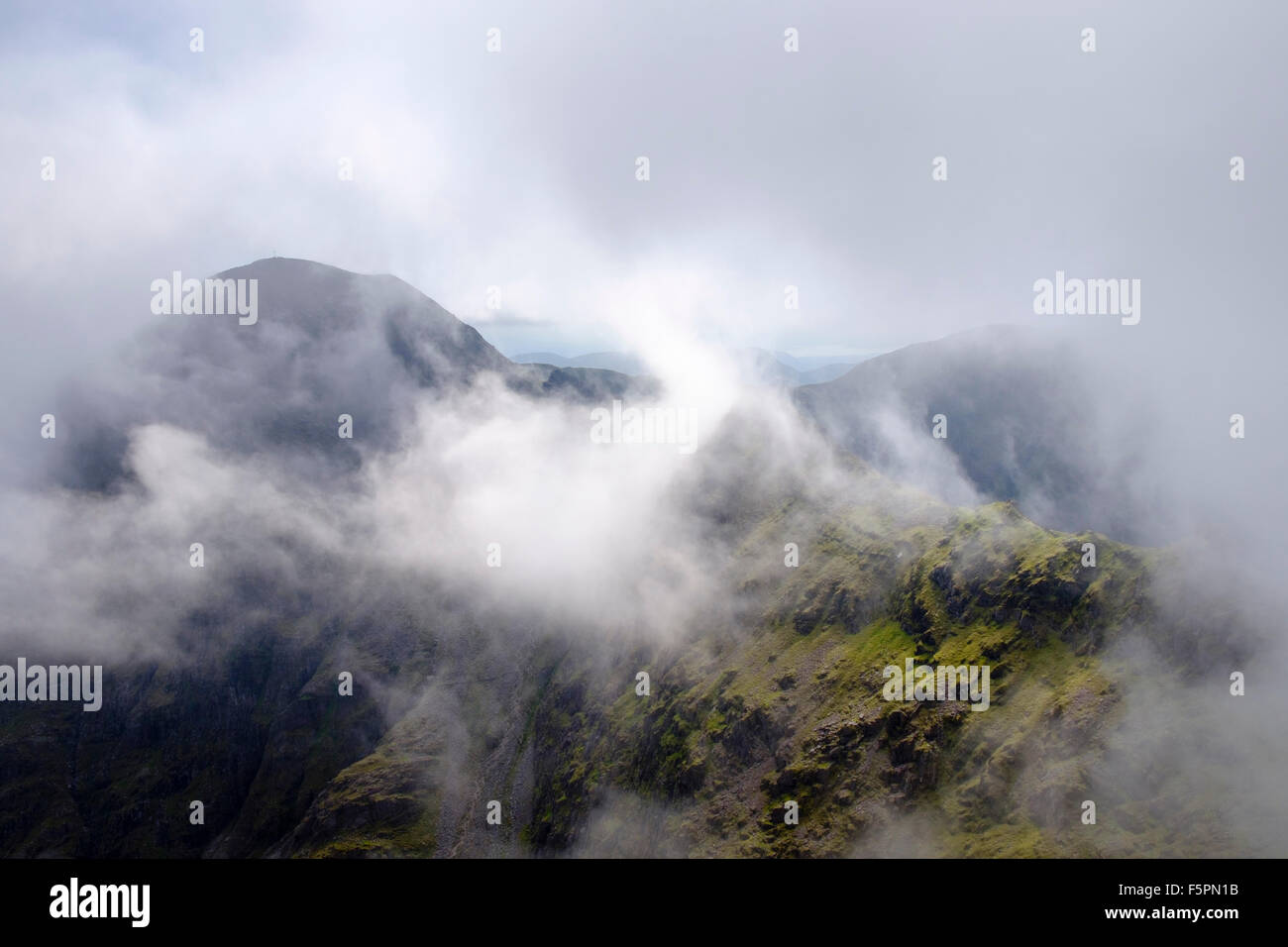 Carrauntoohil from Beenkeragh in MacGillycuddy Reeks, Killarney, County Kerry, Eire, Southern Ireland, Europe - Stock Image