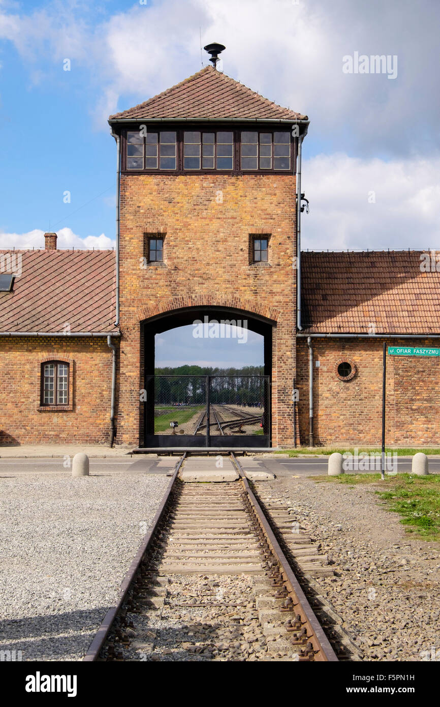 Train tracks outside main entrance gate to Auschwitz II-Birkenau German Nazi Concentration and Extermination Death - Stock Image