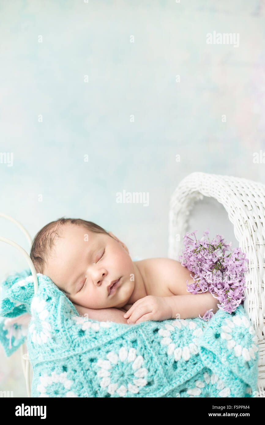 Cute baby sleeping in the carriage - Stock Image