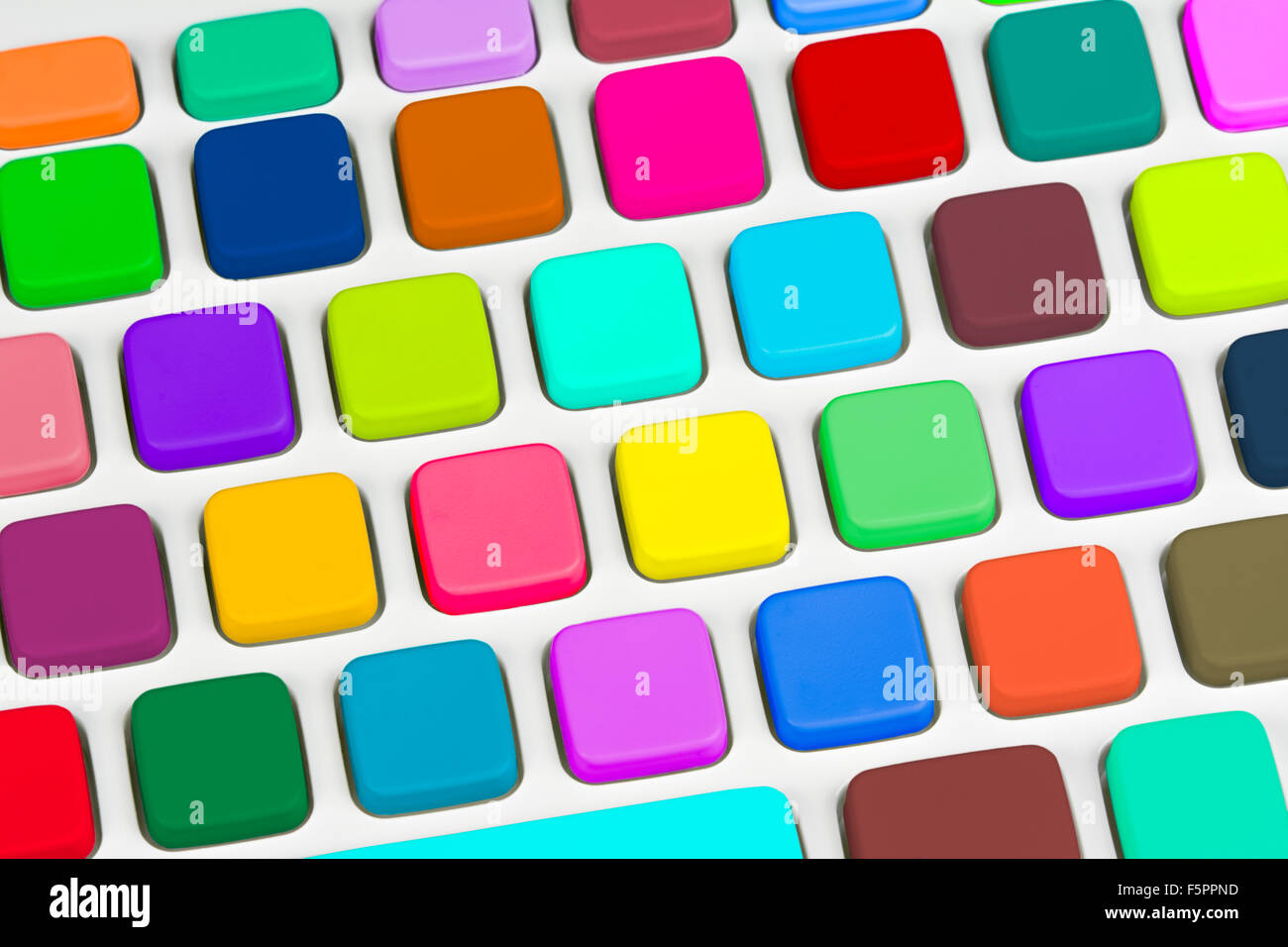 Multicoloured keys on a computer keyboard. - Stock Image
