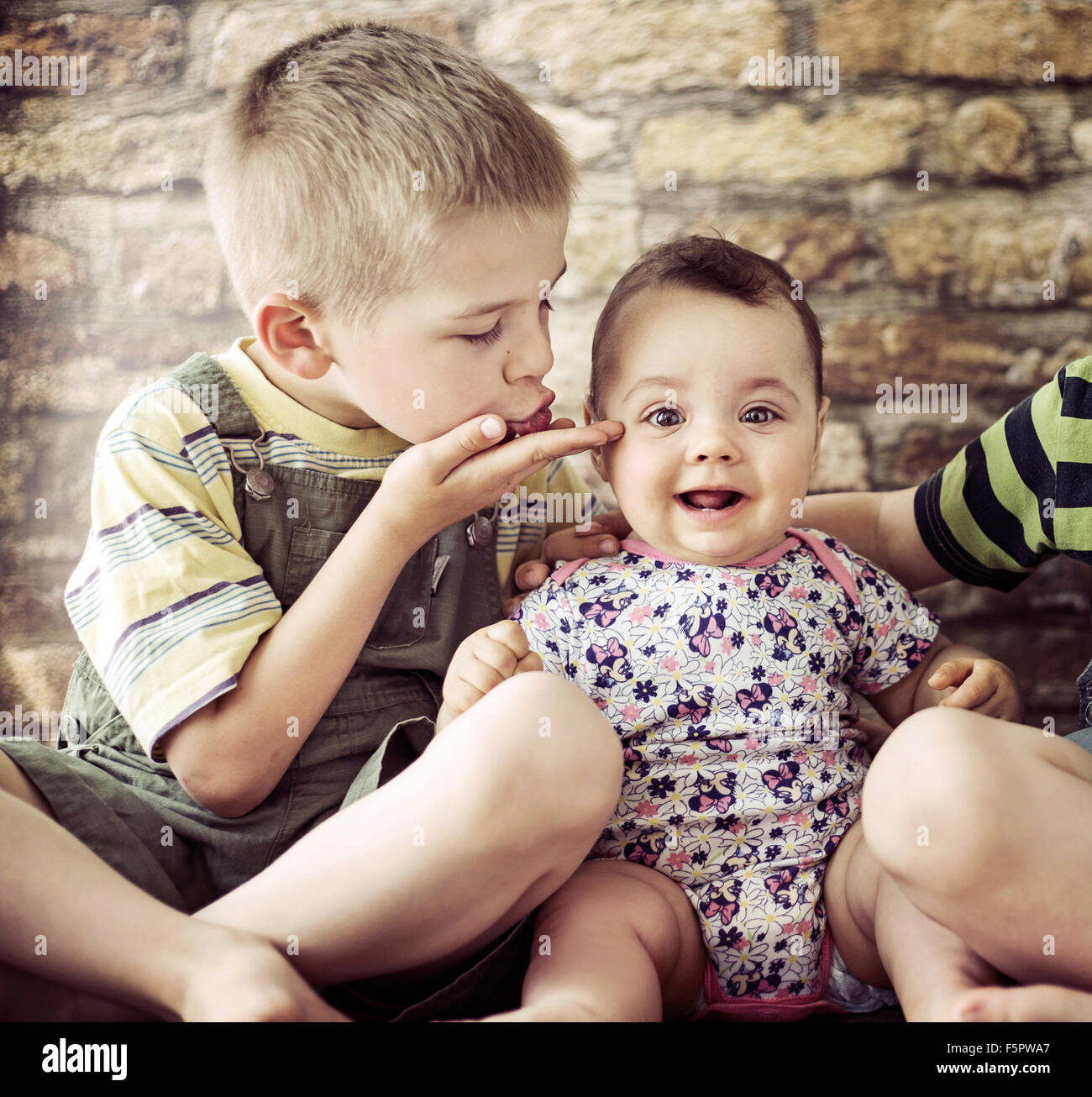 Portrait of the two cute children Stock Photo