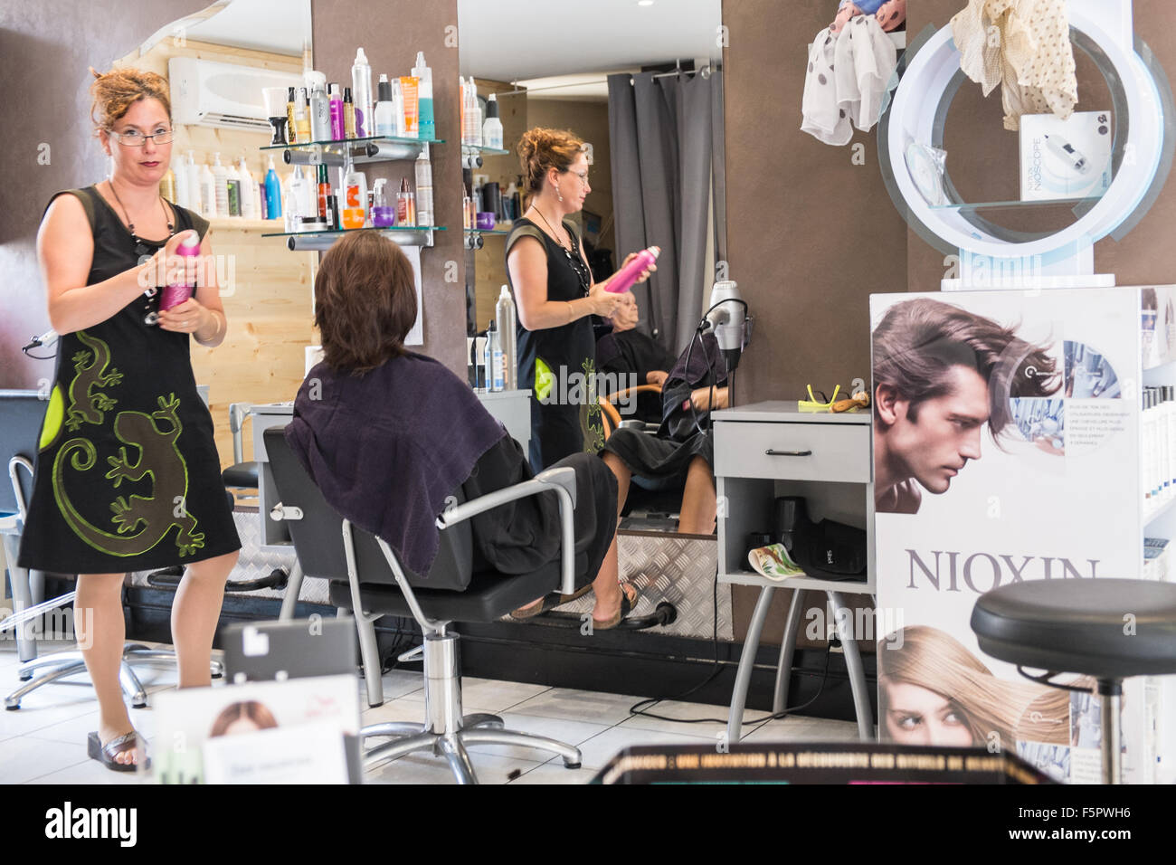 hairdresser,salon,barber,Couiza,Aude,France,style, - Stock Image