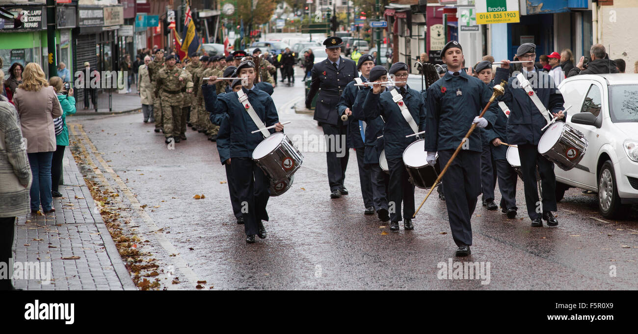 Prestatyn, UK. 08th Nov, 2015. The Prestatyn ATC Band lead a remembrance day parade through the town en-route to - Stock Image