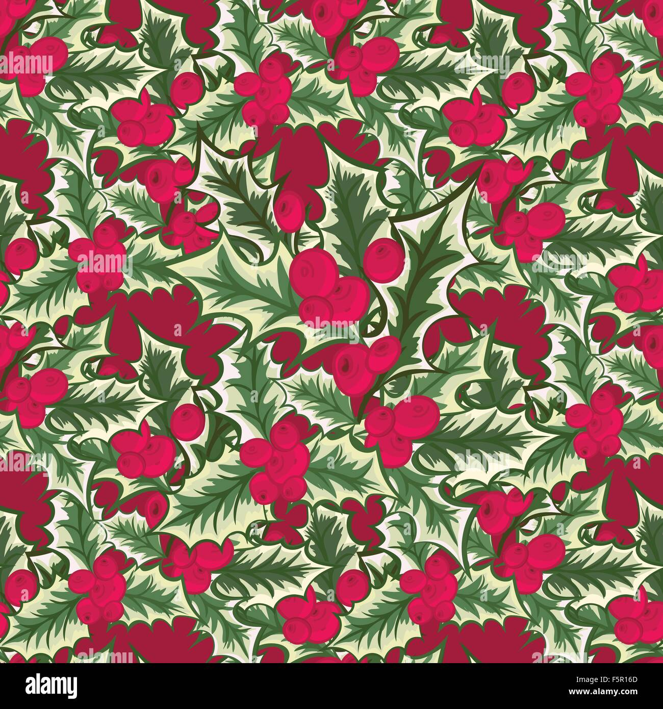 Abstract texture with holly. Seamless pattern with Christmas flower ...