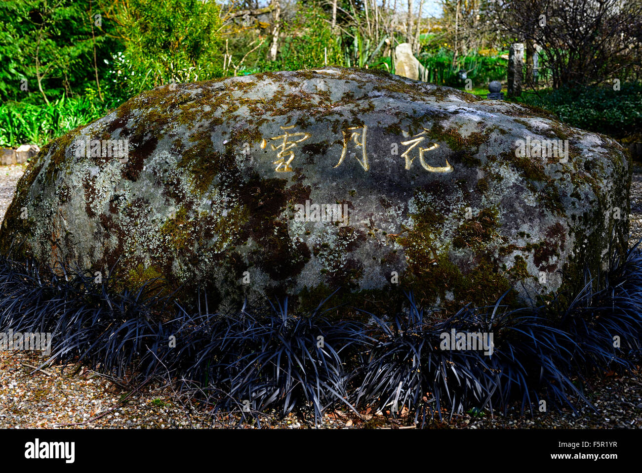 Kanji Snow Moon Flowers characters writing written boulder Knockanree Garden Wicklow Ireland garden feature RM Floral - Stock Image