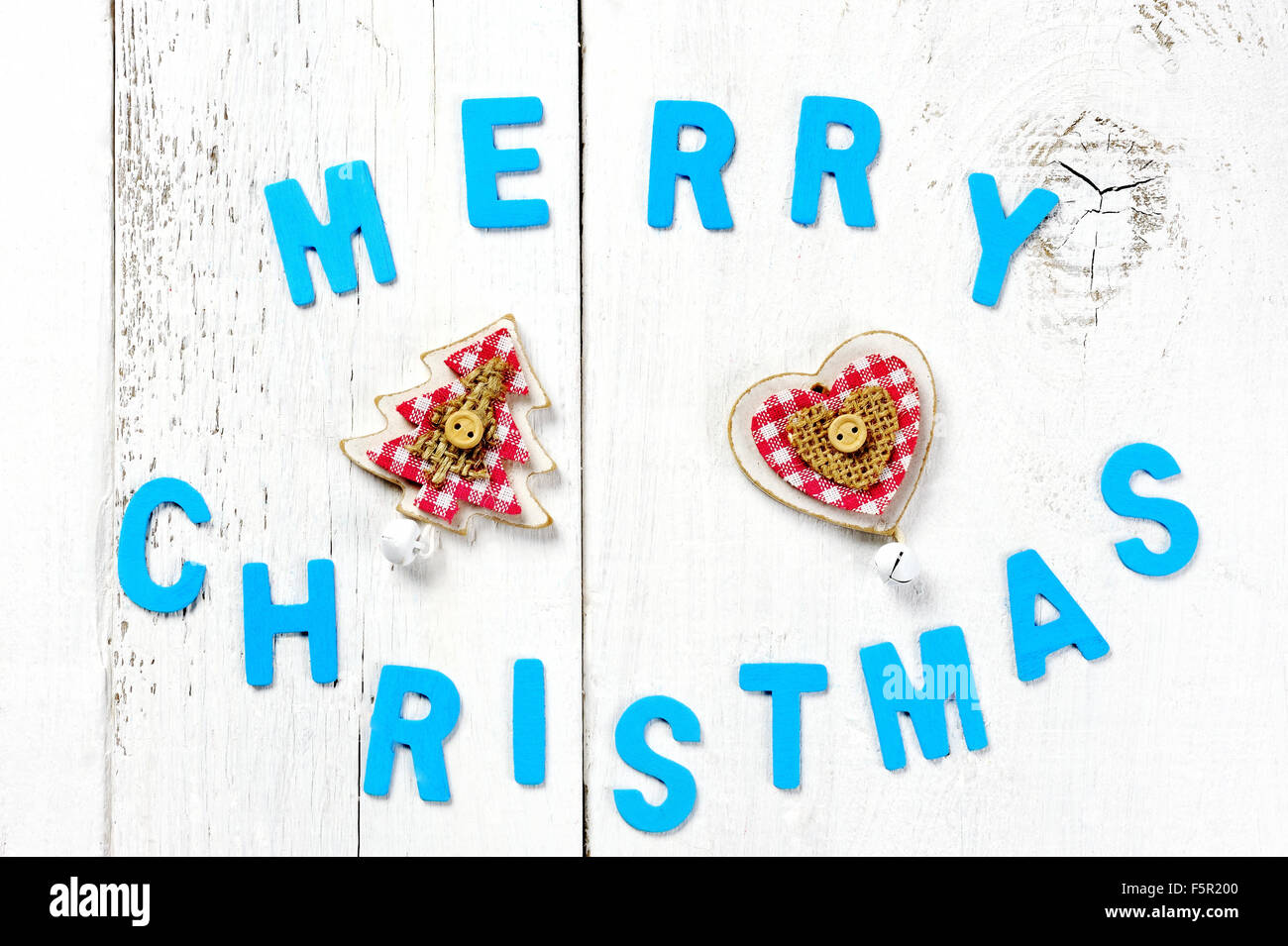 merry christmas words christmas tree and decoration on wooden background stock image - Merry Christmas Words