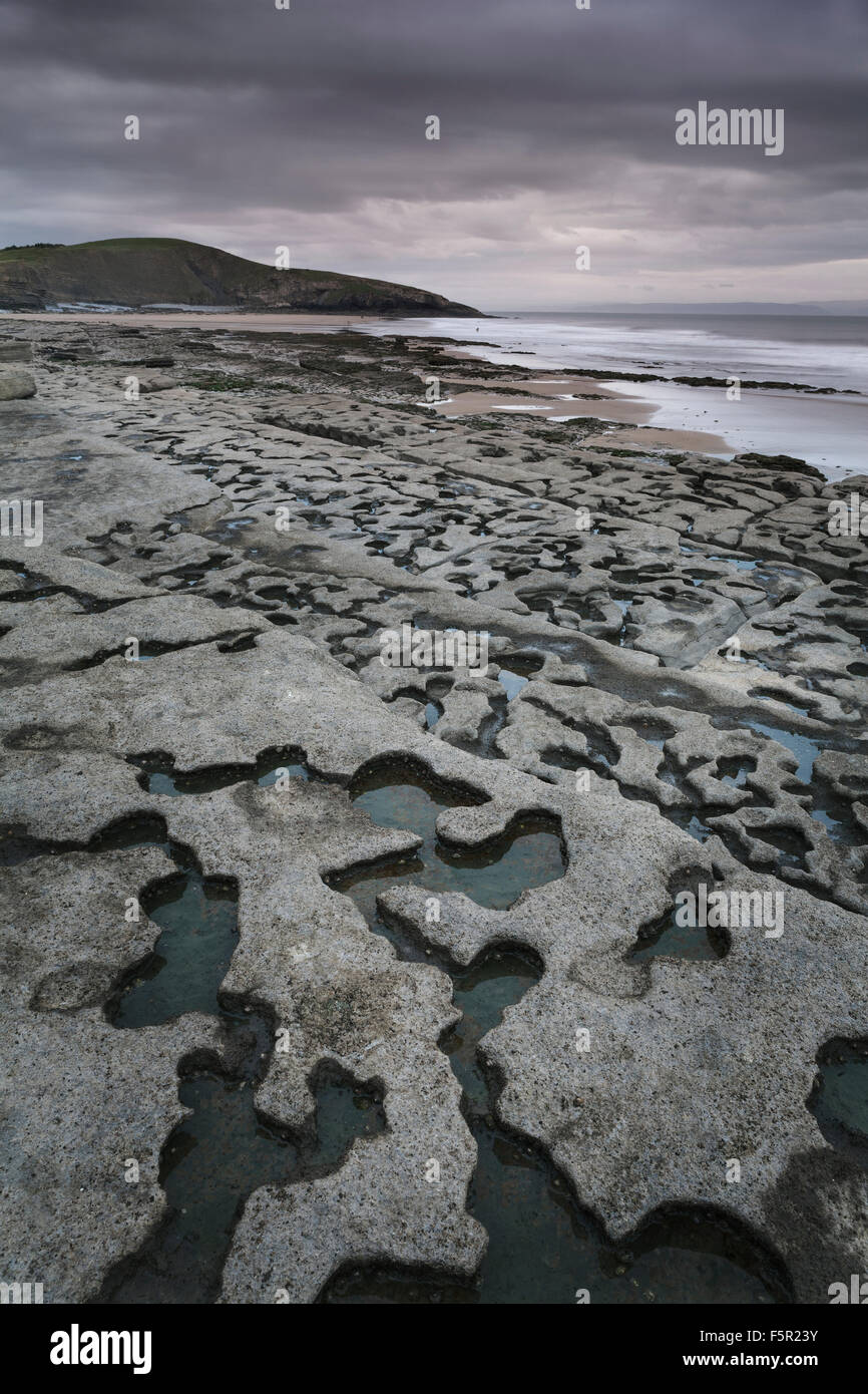 Beautiful rock formations at low tide at Southerndown, Vale of Glamorgan, Wales Stock Photo