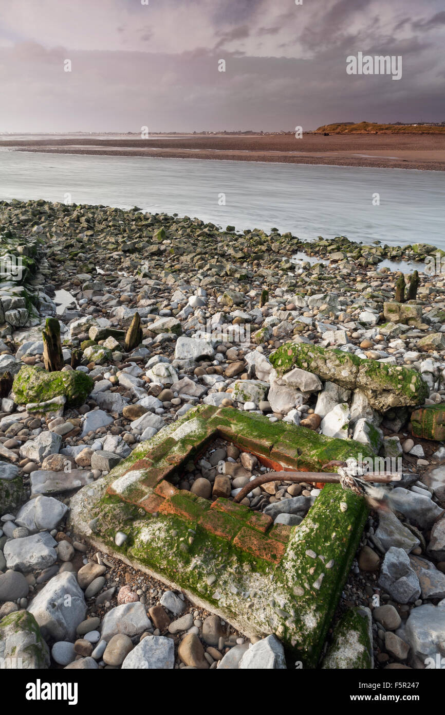 Rubble left behind at Ogmore by Sea, Vale of Glamorgan, Wales Stock Photo