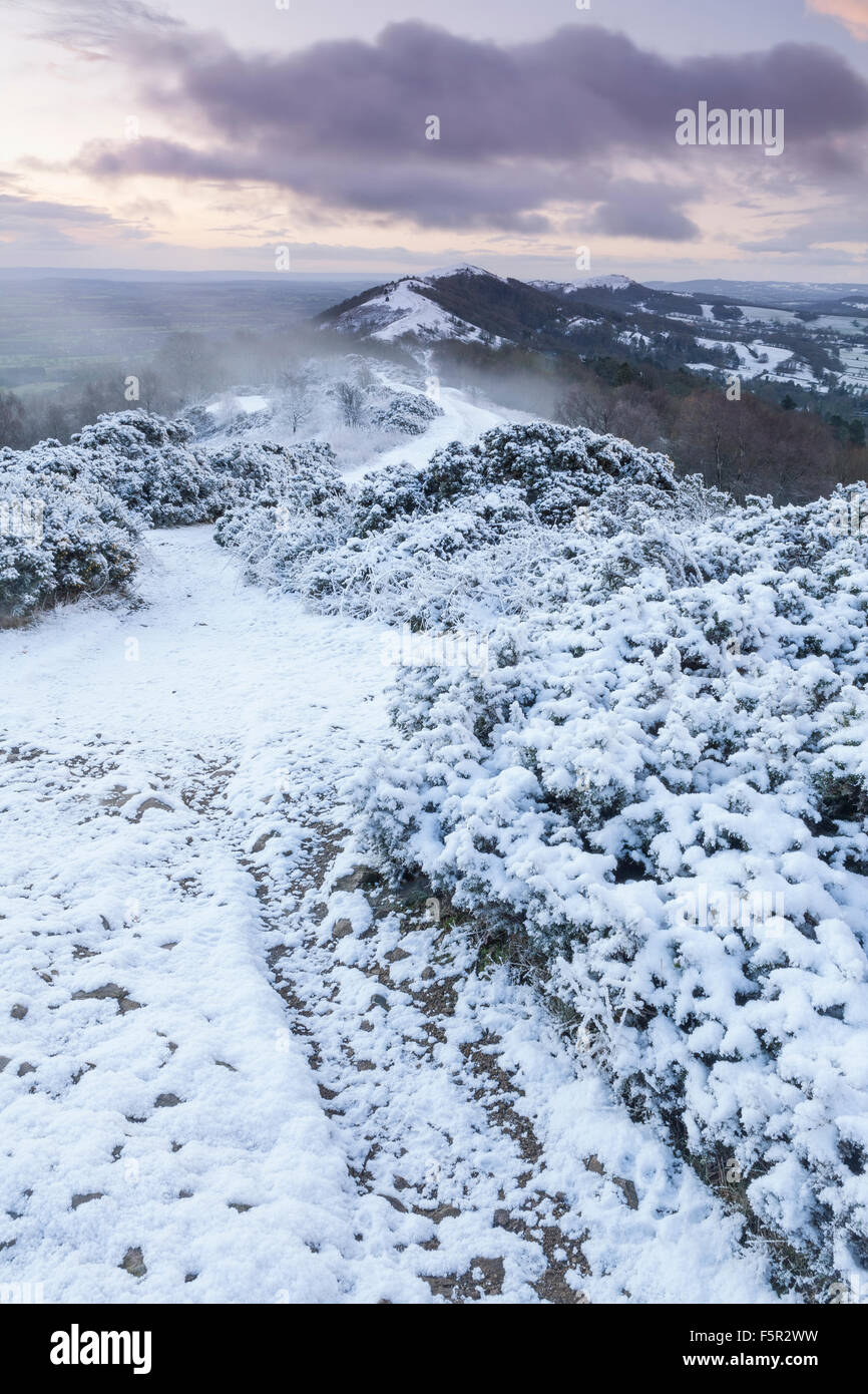 A weak sunrise is casting soft light on the snow covered path to Summer Hill, Malvern Hills, Worcestershire Stock Photo